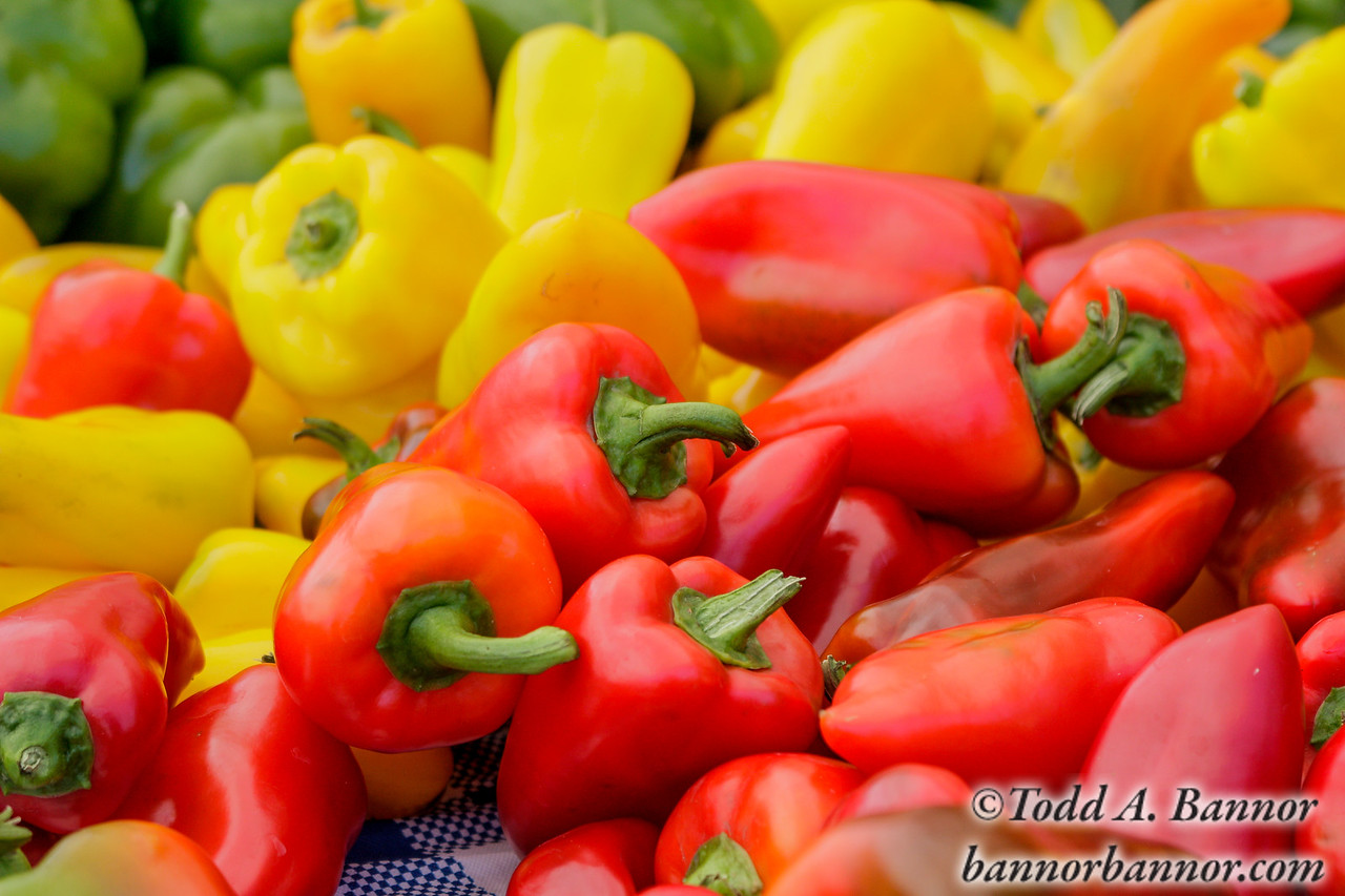 Colorful peppers at the farmers' market.