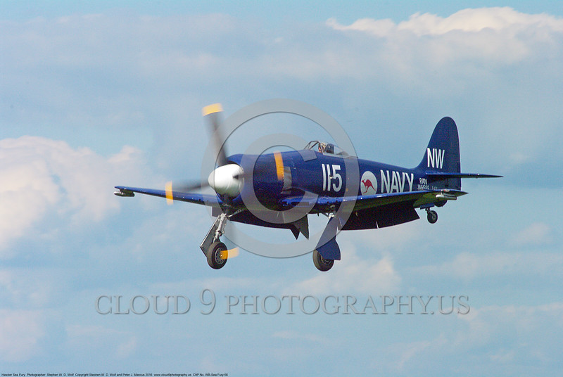 WB-Sea Fury 00068 A landing blue Hawker Sea Fury fighter warbird picture by Stephen W. D. Wolf.JPG