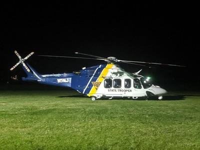 State Police NJ Homeland Security N5NJ helicopter landing in Long Branch, NJ 5/25/2019