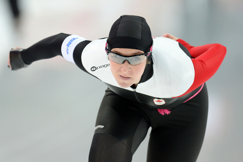. Canada\'s Ivanie Blondin competes in the Women\'s Speed Skating 5000 m at the Adler Arena during the Sochi Winter Olympics on February 19, 2014.  (ANDREJ ISAKOVIC/AFP/Getty Images)