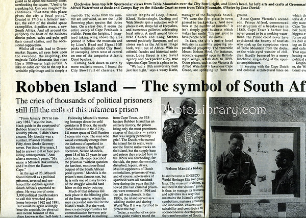 Cape Town, Robben Island. Mainichi Daily News. Tokyo, Japan. Oct 20, 2000