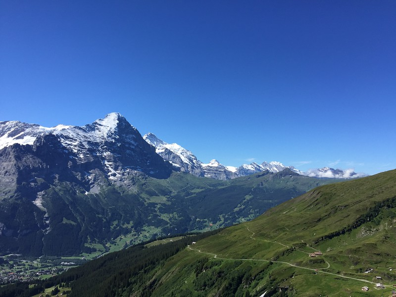 Walking trails and alpine views from the Grindelwald First trail, one of the best hikes in Switzerland.
