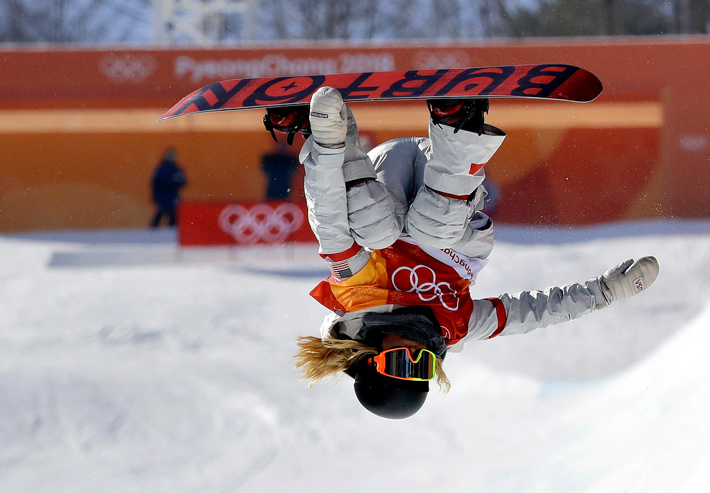 . Chloe Kim, of the United States, jumps during the women\'s halfpipe finals at Phoenix Snow Park at the 2018 Winter Olympics in Pyeongchang, South Korea, Tuesday, Feb. 13, 2018. (AP Photo/Lee Jin-man)