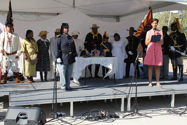 "HISTORY BEING MADE  On June 20, 2015, Colonel Wanda Wright - Director of the Arizona Department of Veterans Services award the Official Arizona Centennial Legacy ""Buffalo Soldiers of the Arizona Territory - Ladies and Gentlemen of the Regiment"", Headquarters Mesa, Arizona the Office of Governor Official PROCLAMATION ""Buffalo Soldiers Day"", June 19, 2015 on stage at the Tempe History Museum Juneteenth Celebration.  Special Guest: Grammy Award Winner Pastor Donnie McClurkin."