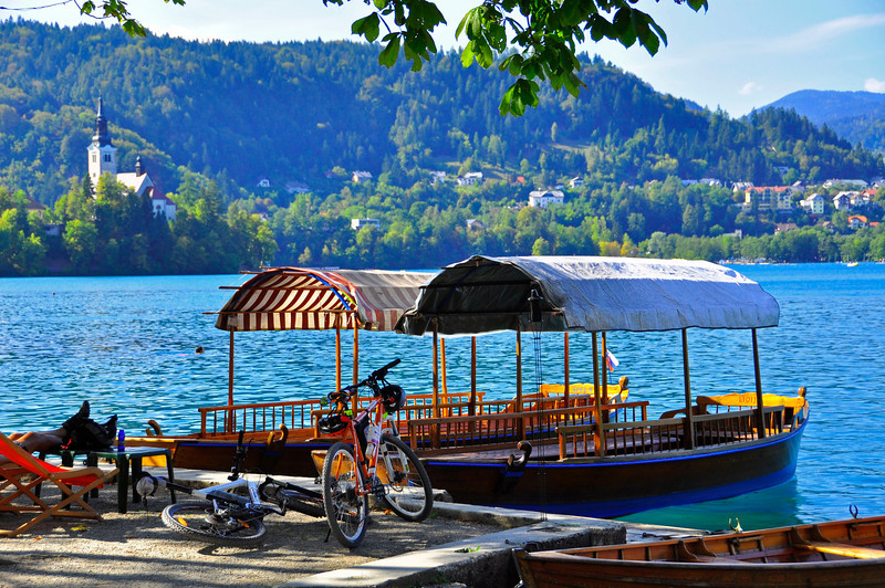 relaxing with the feet up on Lake Bled