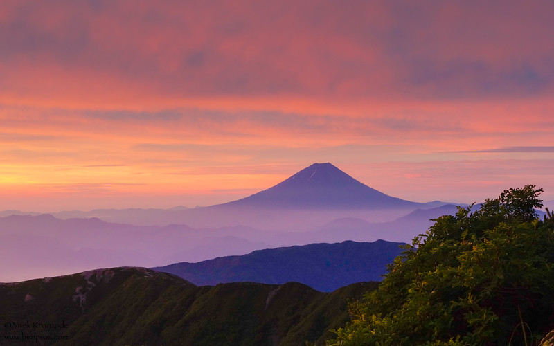 A view of Mt. Fuji from Mt. Kita-dake -  Southern Alps, Japan
