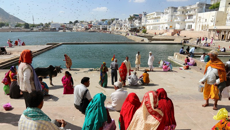 Pushkar - a sacred Hindu pilgrimage town with 52 ghats (stone staircases) where pilgrims bathe. Devout Hindus believe it should be visited at least once in their lifetime.