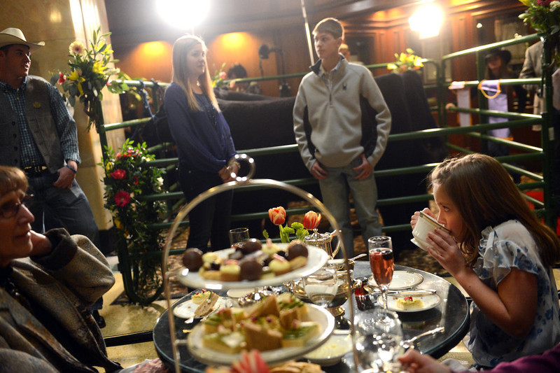 . DENVER, CO. - JANUARY 25: Maya Lynn, 8, enjoys tea with her grandmother, Debbie Lynn, left, while the National Western Stock Show\'s Grand Champion and Reserve Steers were being shown at the Brown Palace Hotel & Spa in Denver, CO, January, 25, 2013. The Grand Champion ,Trevor, weighing in at 1335 lbs. was raised by Shilo Schaake, (back/right) of Westmoreland, KS. The Reserve Grand Champion, Nick, 1275 lbs, was shown by  Jessica Webster (back/center) of Runnells, IA. The skittish champions were also joined by a third steer, Willie, raised by Lauren May, of Mineral Point, WI, for moral support. (Photo By Craig F. Walker / The Denver Post)