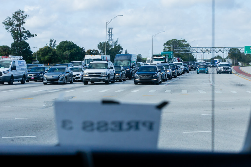 Eastbound Southern Blvd. traffic is stopped as President Donald J. Trump's motorcade turns on Kirk Road, on its way to Trump International Golf Club on Summit Blvd. in West Palm Beach on Saturday, January 04, 2020. [JOSEPH FORZANO/palmbeachpost.com]
