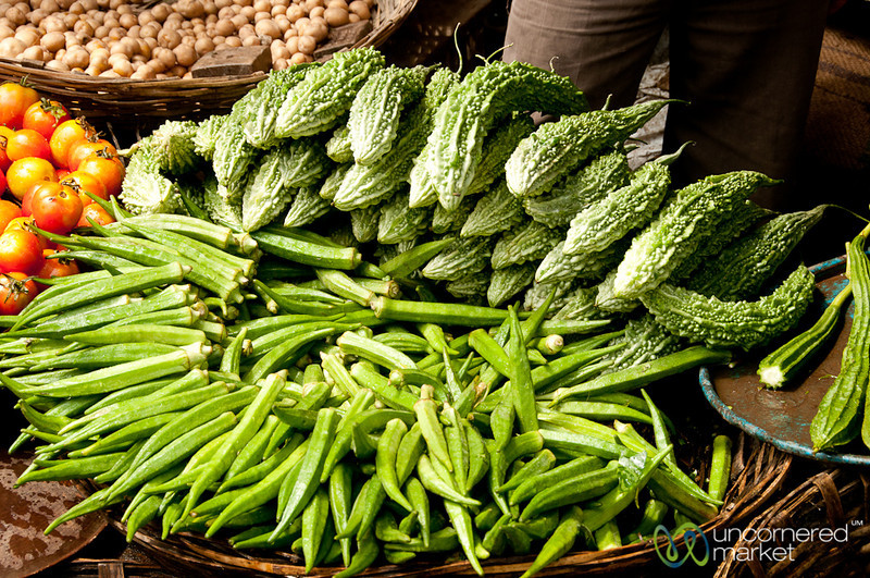 Okra and Bitter Gourd at Srimongal Market - Bangladesh