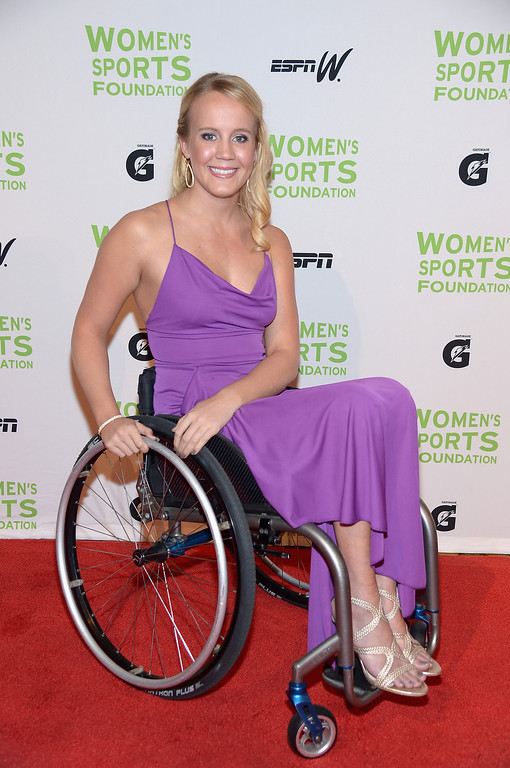 . NEW YORK, NY - OCTOBER 16:  Paralympic swimmer Mallory Weggemann attends the 34th annual Salute to Women In Sports Awards at Cipriani, Wall Street on October 16, 2013 in New York City.  (Photo by Michael Loccisano/Getty Images for the Women\'s Sports Foundation)
