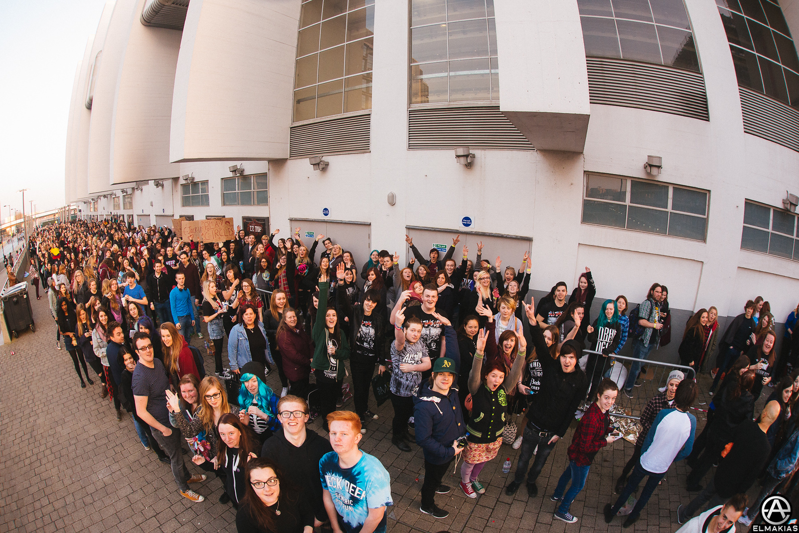 Kids in line at Wembley arena for All Time Low