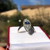 2.93ct Antique Diamond and Sapphire Navette Dinner Ring 9