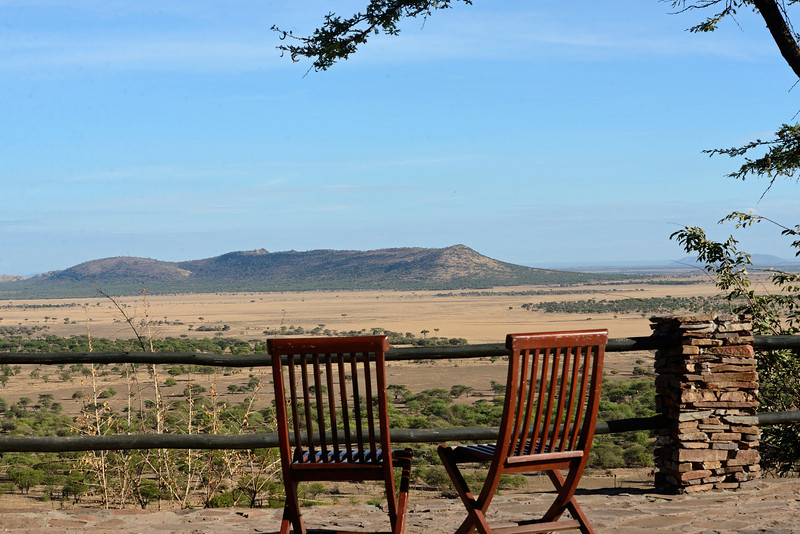 Seats, overlooking the grasslands of the Serengeti.....