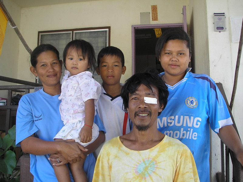 Kik (far right) and the family she lives with.