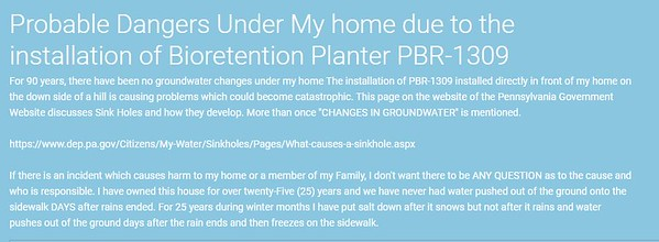 Probable Dangers Under My Home due to the installation of Bioretention Planter PBR-1309