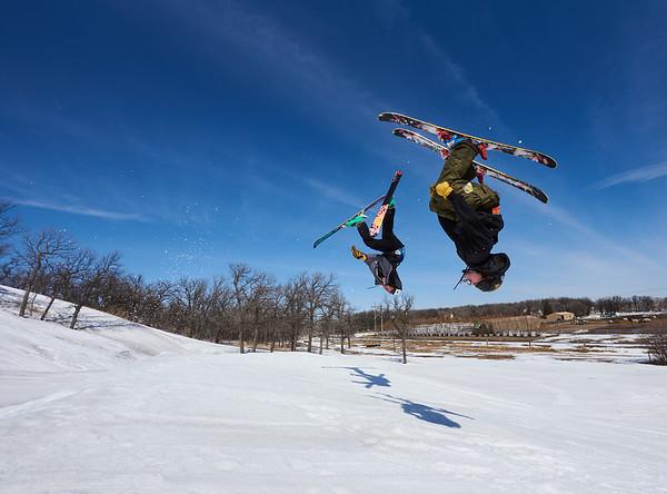 DAVID LIPNOWSKI / WINNIPEG FREE PRESS  Asa France (left) and Rowan Parnell enjoy the last day of downhill skiing and snowboarding at Stony Mountain Ski Area Sunday April 15, 2018.