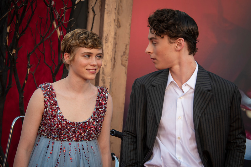 "WESTWOOD, CA - AUGUST 26: Sophia Lillis and Wyatt Oleff attend the Premiere Of Warner Bros. Pictures' ""It Chapter Two"" at Regency Village Theatre on Monday, August 26, 2019 in Westwood, California. (Photo by Tom Sorensen/Moovieboy Pictures)"