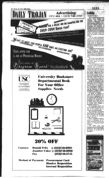 Daily Trojan, Vol. 148, No. 10, January 29, 2003
