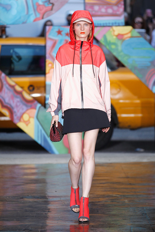 . A model walks the runway at DKNY Women\'s Spring 2014 fashion show dring Mercedes-Benz Fashion Week Spring 2014 on September 8, 2013 in New York City.  (Photo by Peter Michael Dills/Getty Images)