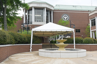 Tents on campus in front of Curb Event Center