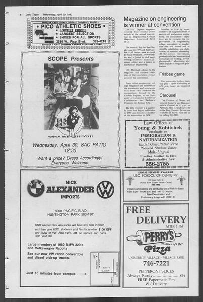 Daily Trojan, Vol. 88, No. 55, April 30, 1980