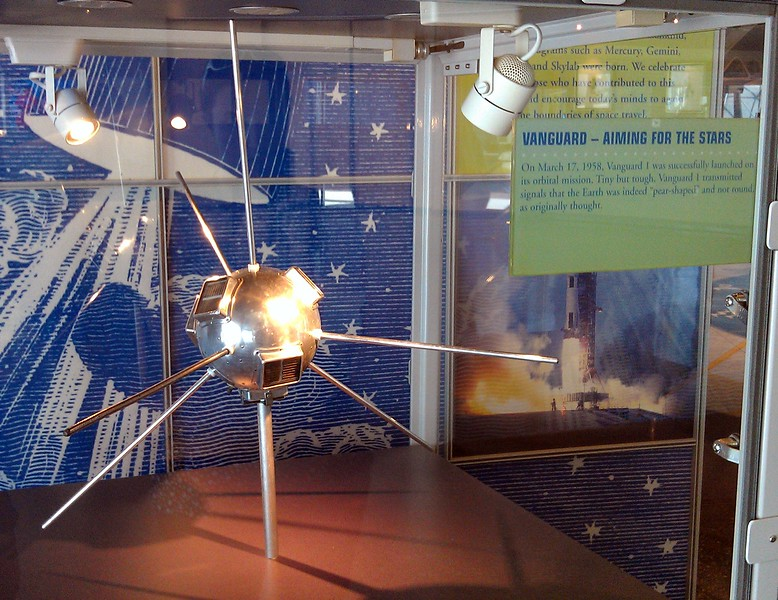 Scale model of Vanguard 1, launched in 1958 and the oldest manmade satellite still in space
