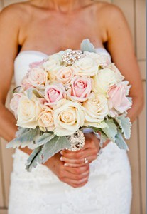 Ivory and blush roses, grey miller greens-$125-$135