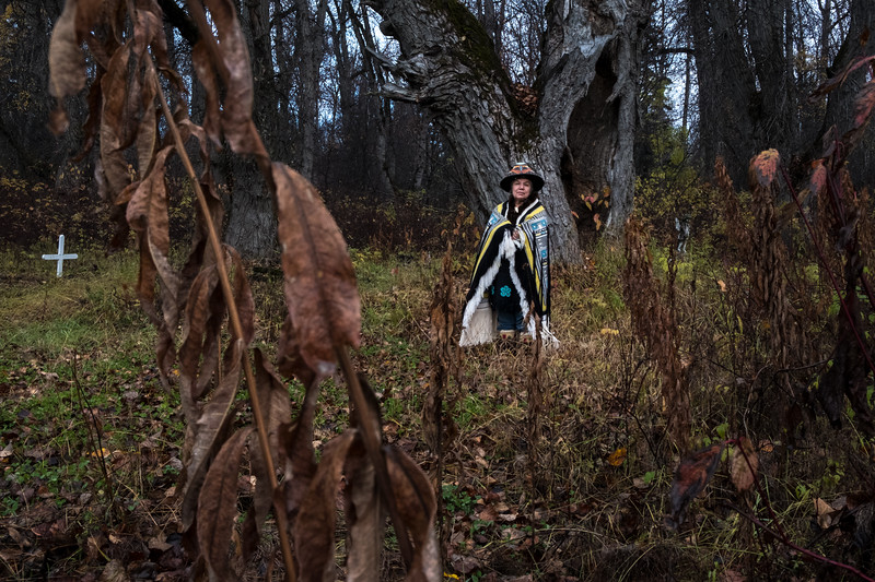 Chilkat elder Lani Hotch dressed in her traditional regalia at her home in the forests surrounding the village of Klukwan on the banks of the Chilkat River.