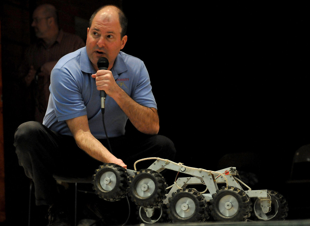 . (John Valenzuela/Staff Photographer) Brian Cooper, lead rover driver of Curiosity and the worlds first Mars rover driver, paid a visit to eight graders at Cope Middle School in Redlands to speak about about his multiple missions to Mars. Cooper works for JPL in Pasadena.