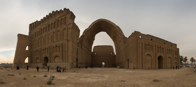 A panorama of the ruins of Taq Kasra, or also often referred to as the Archway of Ctesiphon.