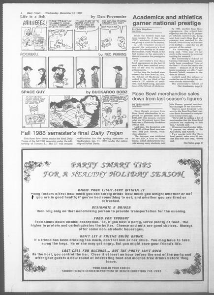 Daily Trojan, Vol. 107, No. 67, December 14, 1988
