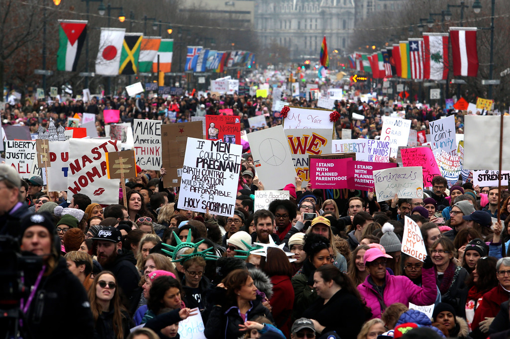 . Thousands of protesters fill the Benjamin Franklin Parkway as they participate in a Women\'s March Saturday Jan. 21, 2017 in Philadelphia. The march is being held in solidarity with similar events taking place in Washington and around the nation. (AP Photo/Jacqueline Larma)