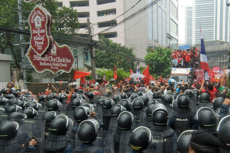 The riot police and Red Shirt protesters meet