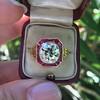 3.12ct Old European Cut Diamond Ruby Halo Ring, GIA L  2