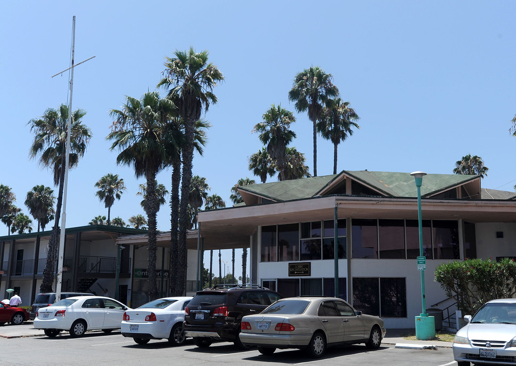 """. The SeaPort Marina Hotel in Long Beach turned 50 this year and had once been the jewel of resorts in the city. The resort is on harder times, with the owners wanting to redevelop the land but plans have been denied. Preservationists say the buildings are worth saving. The hotel has many \""""googie\"""" architectural features such as the roof over the former lobby that preservationists say are worth saving. 20130805 Photo by Steve McCrank / Staff Photographer"""