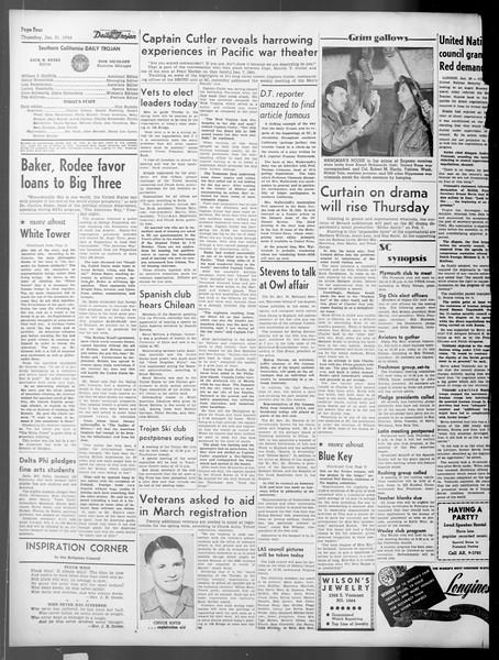 Daily Trojan, Vol. 37, No. 61, January 31, 1946