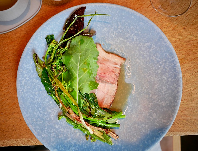 Relæ: pork (best ever) and spring greens from the farm in pork bone broth