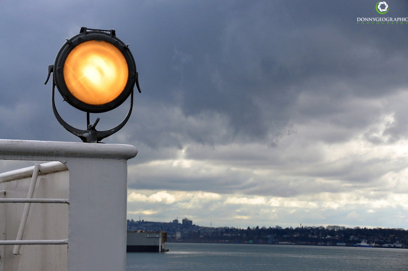 A ships light in the Burrard Inlet