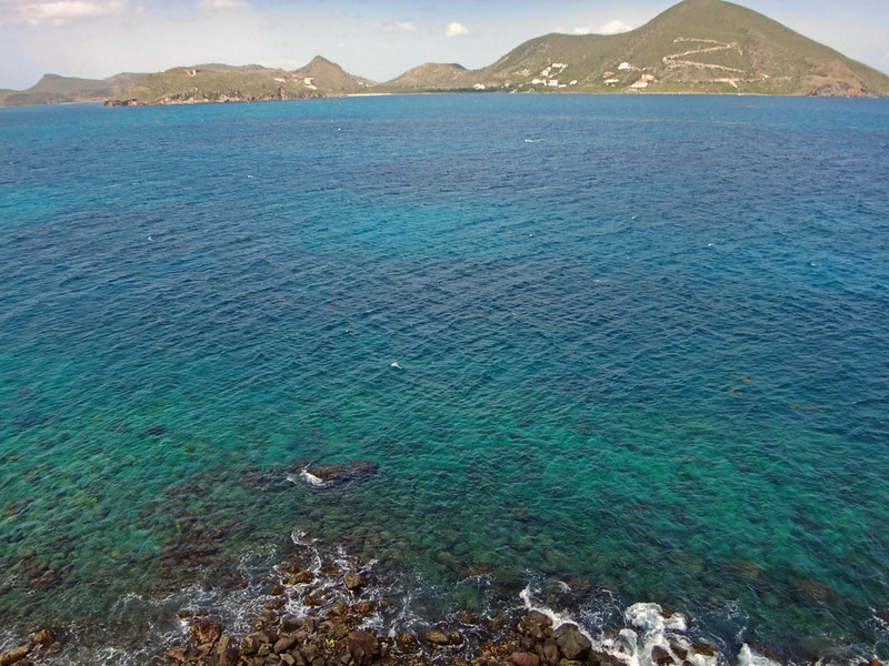The view back to St Kitts - Turtle Beach is in the middle. My route home.