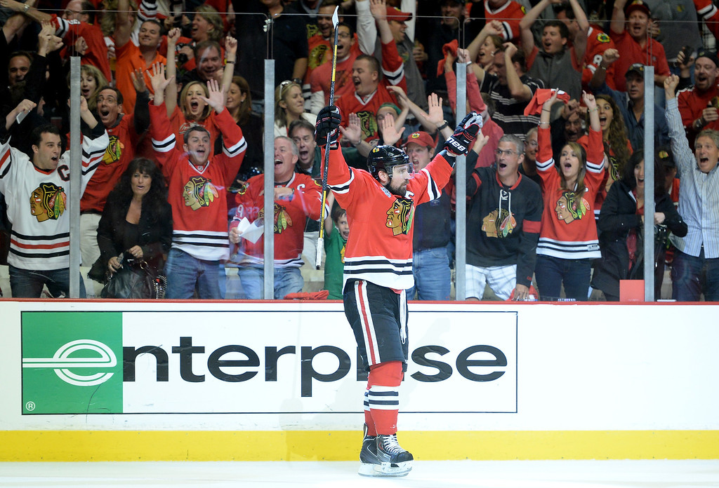 . CHICAGO, IL - JUNE 15:  Patrick Sharp #10 of the Chicago Blackhawks celebrates after scoring a goal in the first period against Tuukka Rask #40 of the Boston Bruins in Game Two of the NHL 2013 Stanley Cup Final at United Center on June 15, 2013 in Chicago, Illinois.  (Photo by Harry How/Getty Images)