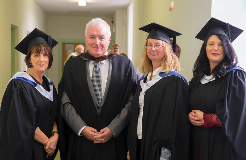 28/10/2015. Waterford Institute of Technology Conferring. Pictured are Bridget Conway, New Ross, Nicholas McHugh, Tipperary, Christine Butler, Longford and Rita Burke, Limerick. Picture: Patrick Browne