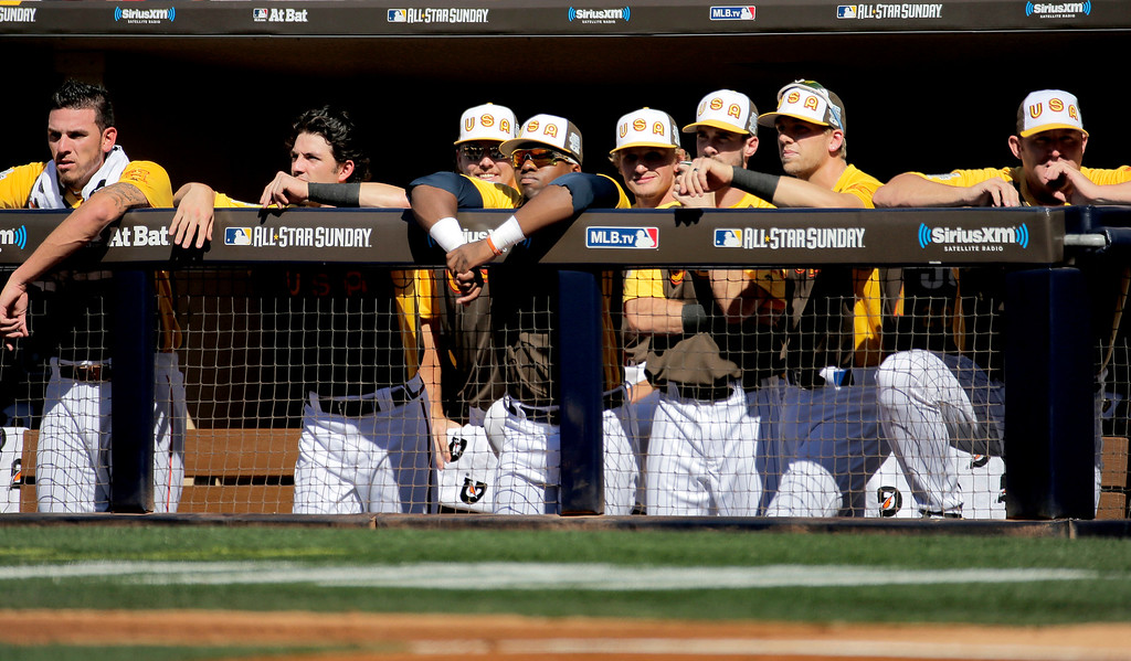 . The U.S. Team watches from the dugout during the first inning of the All-Star Futures baseball game against the World Team, Sunday, July 10, 2016, in San Diego. (AP Photo/Matt York)