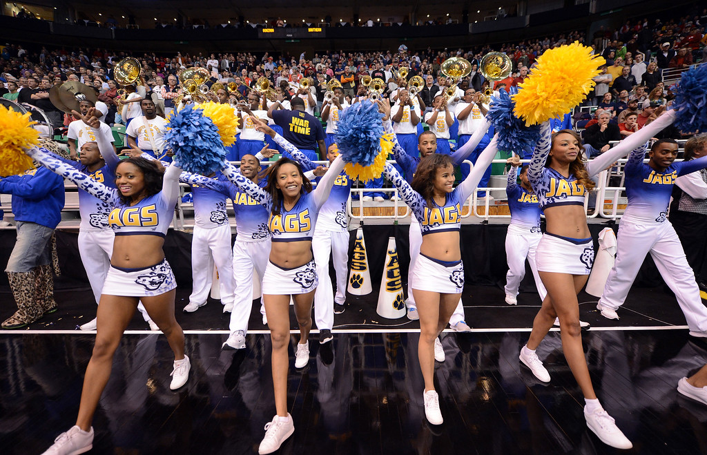 . SALT LAKE CITY, UT - MARCH 21:  The Southern University Jaguars cheerleaders perform during the second round of the 2013 NCAA Men\'s Basketball Tournament against the Gonzaga Bulldogs at EnergySolutions Arena on March 21, 2013 in Salt Lake City, Utah.  (Photo by Harry How/Getty Images)