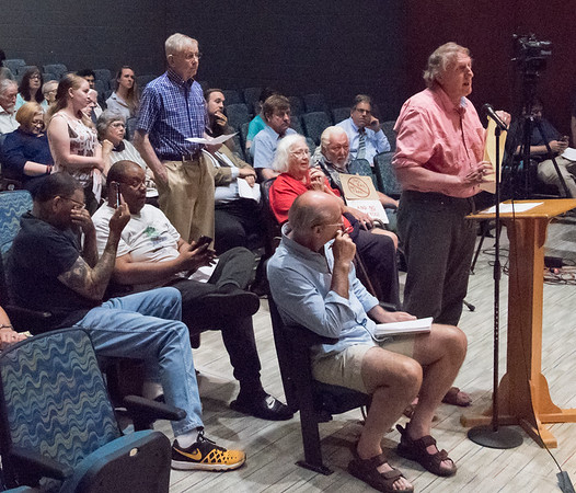 06/26/18 Charles Paulin | Staff A presentation was held on Tuesday evening at Gaffney Elementary School regarding Tilcon's proposed expansion of its quarry into a New Britain owned watershed area. Paul Zagorsky from Protect our Watershed CT speaks at the podium.