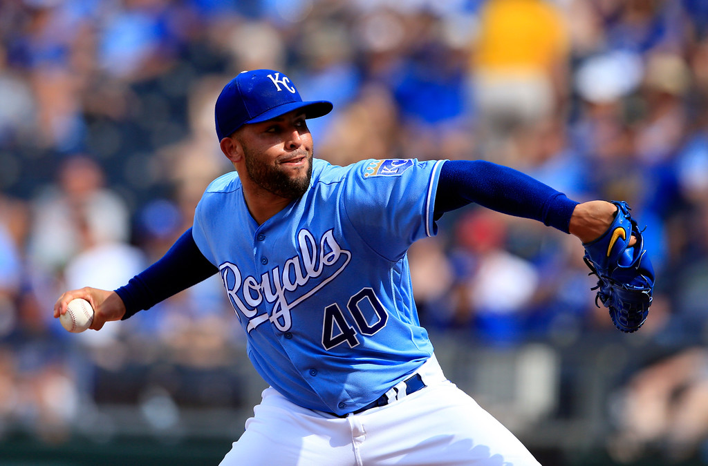 . Kansas City Royals relief pitcher Kelvin Herrera during a baseball game against the Cleveland Indians at Kauffman Stadium in Kansas City, Mo., Sunday, Aug. 20, 2017. The Royals defeated the Indians 7-4. (AP Photo/Orlin Wagner)