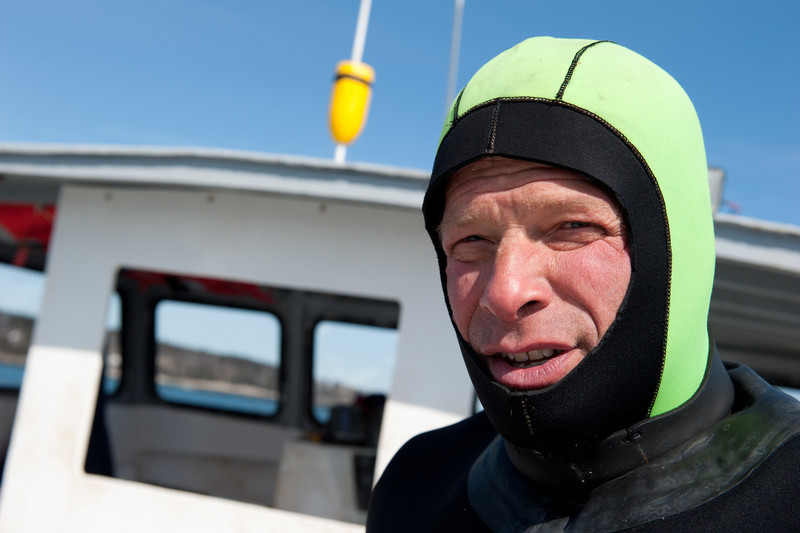 32. Diving for sea scallops in Casco Bay, Maine, March 2013.