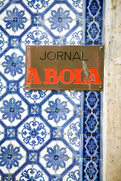 """Plaque with the sign """"Jornal A Bola"""" (The Ball Newspaper), a popular football newspaper in Portugal. Bairro Alto, Lisbon."""