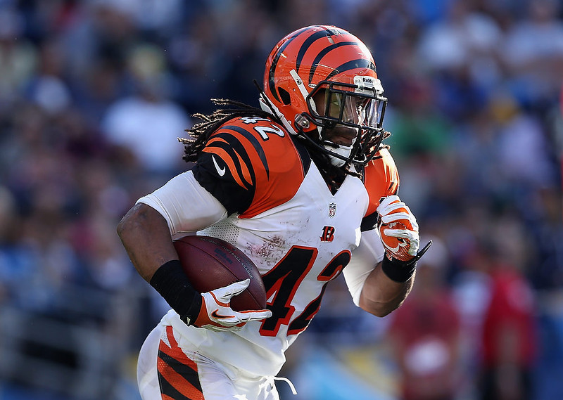 . Running back BenJarvus Green-Ellis #42 of the Cincinnati Bengals carries the ball against the San Diego Chargers in the second half at Qualcomm Stadium on December 2, 2012 in San Diego, California.  (Photo by Jeff Gross/Getty Images)