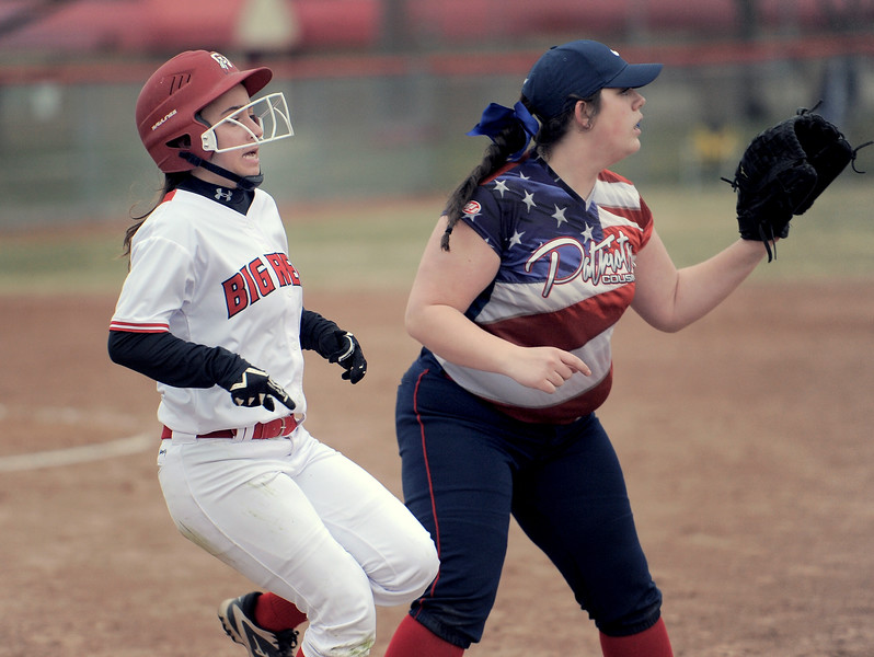Gina Liss (1) of Chippewa Valley runs to first after geting a hit during the match between Cousino and Chippewa Valley on April 13, 2018. MACOMB DAILY PHOTO GALLERY BY DAVID DALTON